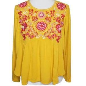 ALTAR'D STATE Yellow Boho Floral Peasant Top